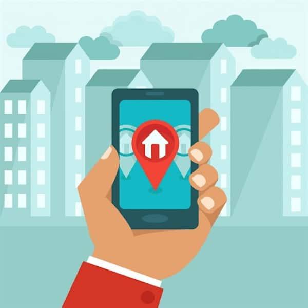 Recherche immobilière sur mobile .