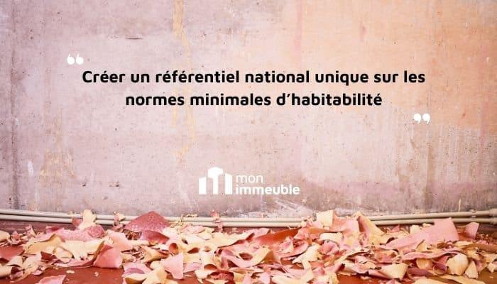 Un référentiel national unique sur les normes minimales d'habitabilité